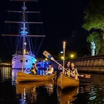 Naktinis pasiplaukiojimas kanoja Klaipėdoje